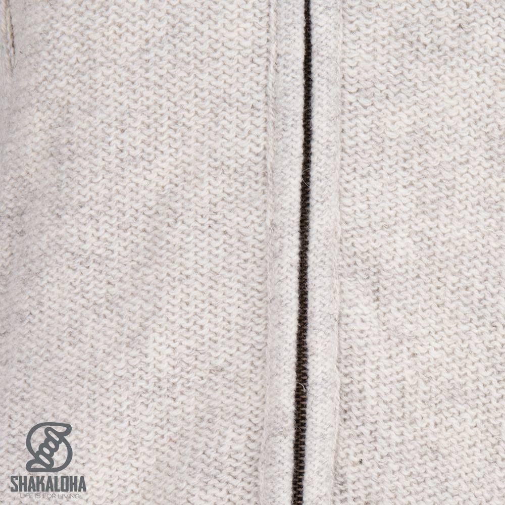 Shakaloha Shakaloha Knitted Woolen Jacket Supermodel ZH Beige Cream with Cotton Lining and Detachable Hood - Woman - Handmade in Nepal from sheep's wool