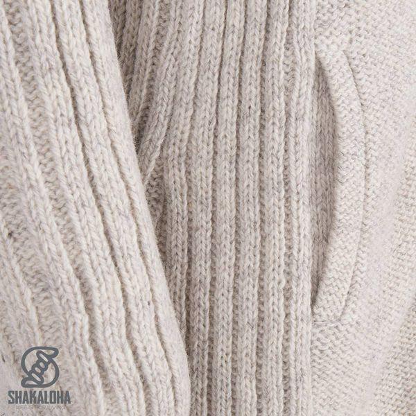 Shakaloha Shakaloha Veste en Laine Tricoté Supermodel ZH Crème beige avec Doublure en coton et Capuche détachable - Femmes - Fabriqué à la main au Népal en laine de mouton
