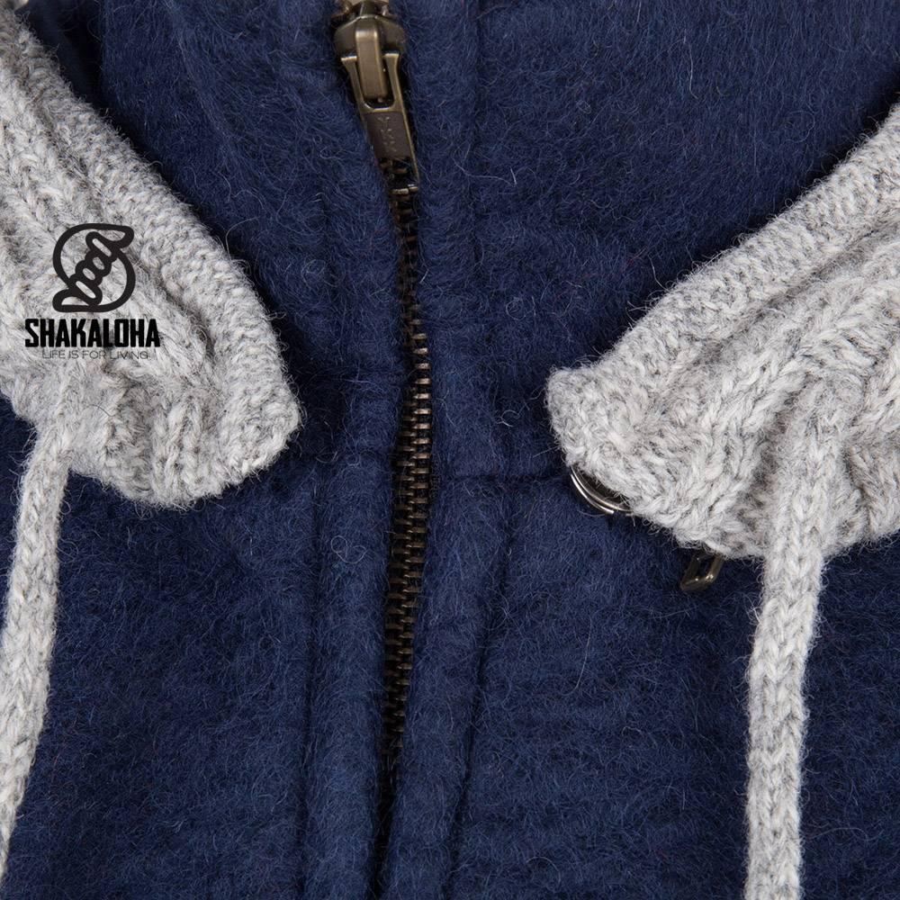 Shakaloha Shakaloha Veste en Laine Tricoté Baseball ZH Bleu marine bleu avec Doublure en coton et Capuche détachable - Hommes - Uni - Fabriqué à la main au Népal en laine de mouton
