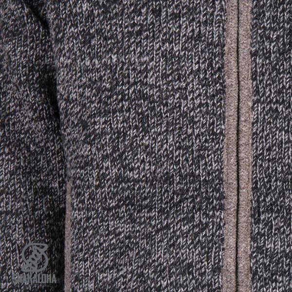 Shakaloha Shakaloha Veste en Laine Tricoté Sierra Brun clair anthracite avec Doublure en coton et Col haut - Hommes - Uni - Fabriqué à la main au Népal en laine de mouton