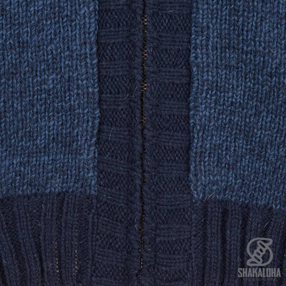 Shakaloha Shakaloha Veste en Laine Tricoté Boulder Bleu marin avec Doublure en coton et Capuche - Hommes - Uni - Fabriqué à la main au Népal en laine de mouton