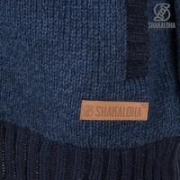 Shakaloha Shakaloha Knitted Woolen Jacket Boulder Navy Blue with Cotton Lining and Hood - Men - Unisex - Handmade in Nepal from sheep's wool