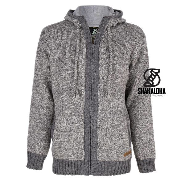 Shakaloha Shakaloha Knitted Woolen Jacket Boulder  with Cotton Lining and Hood - Men - Unisex - Handmade in Nepal from sheep's wool