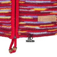 Shakaloha Shakaloha Knitted Woolen Jacket Noosa ZH  with Cotton Lining and Detachable Hood - Woman - Handmade in Nepal from sheep's wool