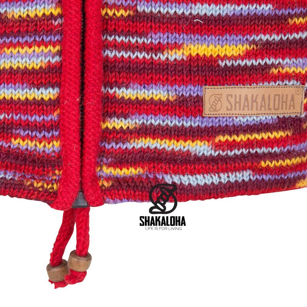 Shakaloha Shakaloha Veste en Laine Tricoté Noosa ZH Multicolore avec Doublure en coton et Capuche détachable - Femmes - Fabriqué à la main au Népal en laine de mouton