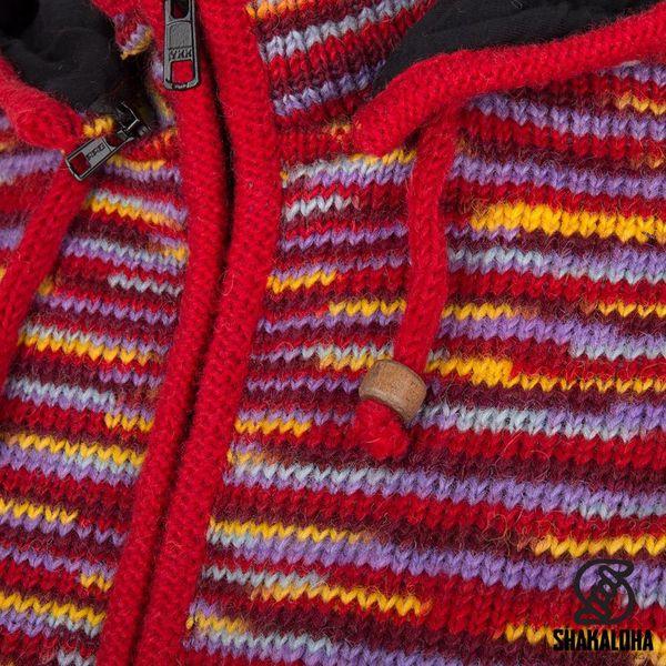 Shakaloha Shakaloha Wolljacke - Strickjacke Noosa ZH Mehrfarbiges Fell mit Baumwollfutter und Abnehmbarer Kapuze - Damen - Handgemacht in Nepal aus Schafwolle