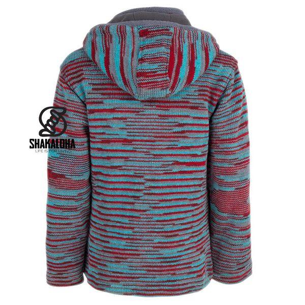 Shakaloha Shakaloha Knitted Woolen Jacket Noosa ZH Red Light Blue Gray with Cotton Lining and Detachable Hood - Woman - Handmade in Nepal from sheep's wool