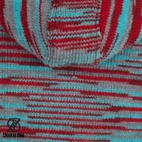 Shakaloha Shakaloha Wolljacke - Strickjacke Noosa ZH Rot hellblau grau mit Baumwollfutter und Abnehmbarer Kapuze - Damen - Handgemacht in Nepal aus Schafwolle