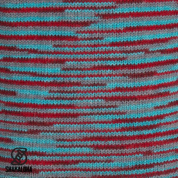 Shakaloha Shakaloha Veste en Laine Tricoté Noosa ZH Rouge Bleu Clair Gris avec Doublure en coton et Capuche détachable - Femmes - Fabriqué à la main au Népal en laine de mouton