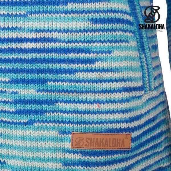 Shakaloha Shakaloha Veste en Laine Tricoté Noosa ZH Bleu clair avec Doublure en coton et Capuche détachable - Femmes - Fabriqué à la main au Népal en laine de mouton
