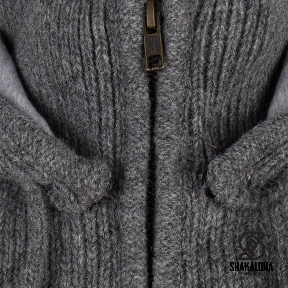 Shakaloha Shakaloha Veste en Laine Tricoté Rosco ZH gris avec Doublure en coton et Capuche détachable - Hommes - Uni - Fabriqué à la main au Népal en laine de mouton