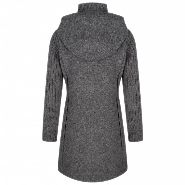 Shakaloha Shakaloha Knitted Woolen Jacket Supermodel ZH Gray with Cotton Lining and Detachable Hood - Woman - Handmade in Nepal from sheep's wool