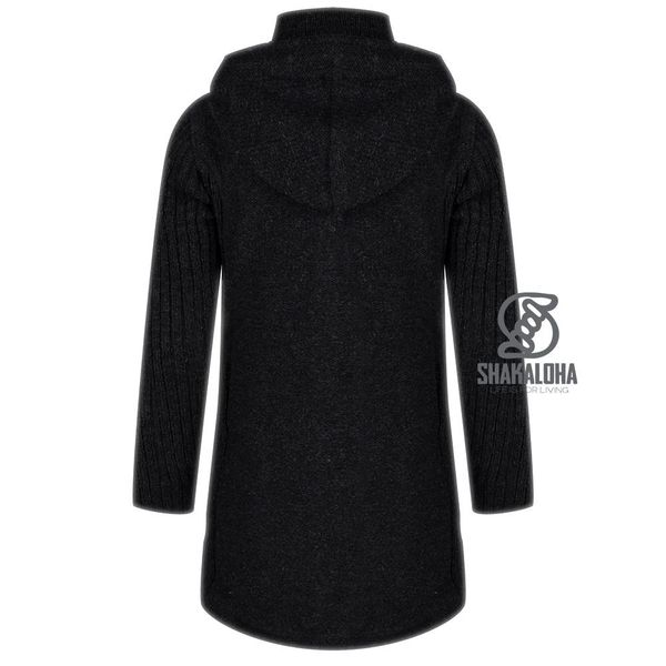 Shakaloha Shakaloha Knitted Woolen Jacket Supermodel ZH  with Cotton Lining and Detachable Hood - Woman - Handmade in Nepal from sheep's wool