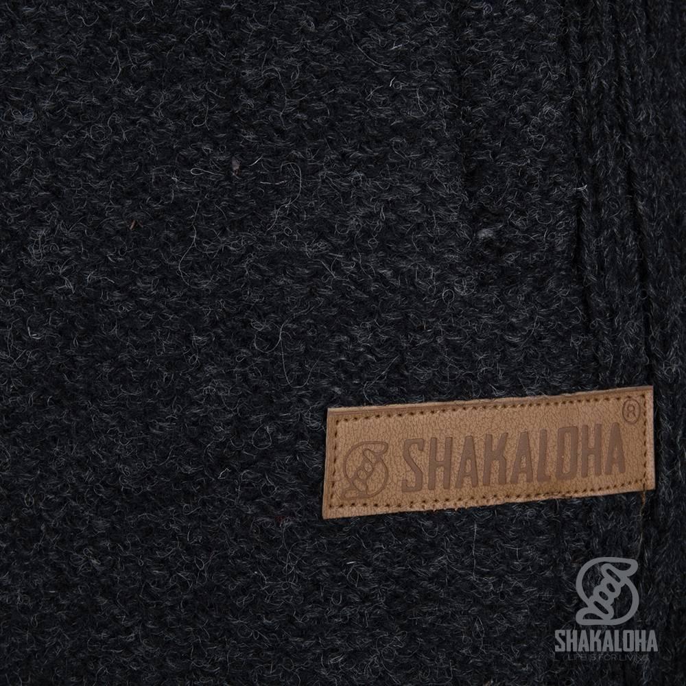 Shakaloha Shakaloha Veste en Laine Tricoté Supermodel ZH Anthracite avec Doublure en coton et Capuche détachable - Femmes - Fabriqué à la main au Népal en laine de mouton