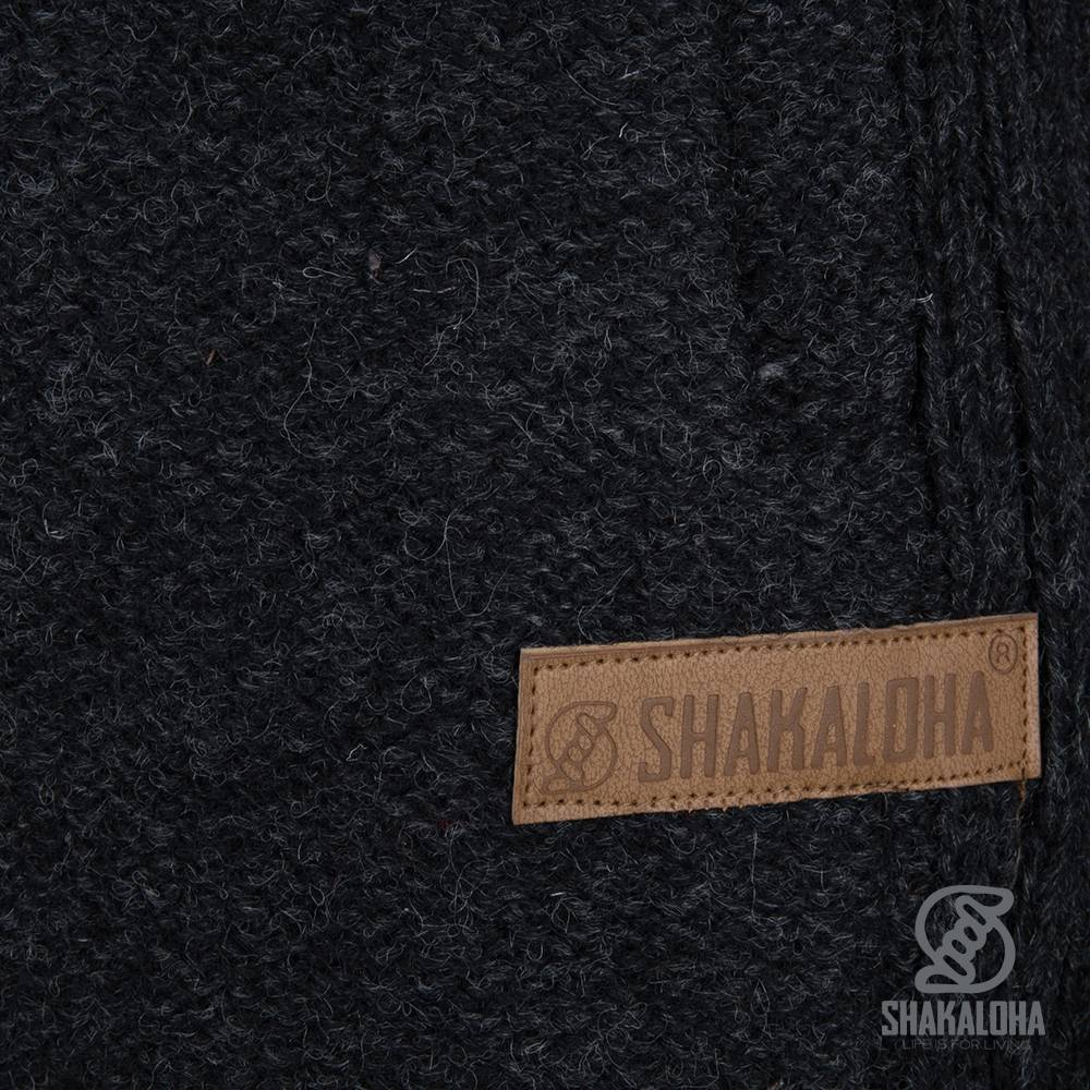 Shakaloha Shakaloha Wolljacke - Strickjacke Supermodel ZH Anthrazit mit Baumwollfutter und Abnehmbarer Kapuze - Damen - Handgemacht in Nepal aus Schafwolle