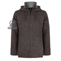 Shakaloha Shakaloha Knitted Woolen Jacket Rosco ZH Light Brown Taupe with Cotton Lining and Detachable Hood - Men - Unisex - Handmade in Nepal from sheep's wool