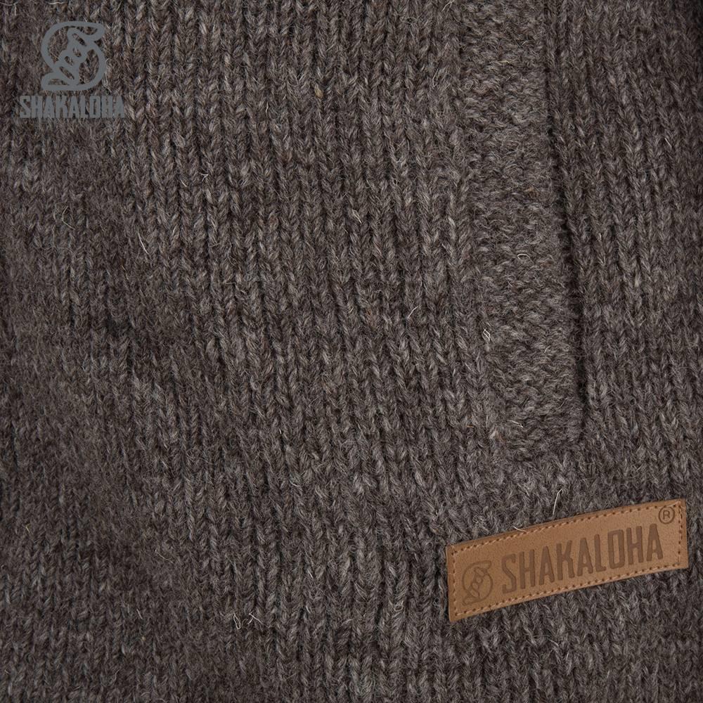 Shakaloha Shakaloha Wolljacke - Strickjacke Rosco ZH Hellbraune Taupe mit Baumwollfutter und Abnehmbarer Kapuze - Herren - Uni - Handgemacht in Nepal aus Schafwolle