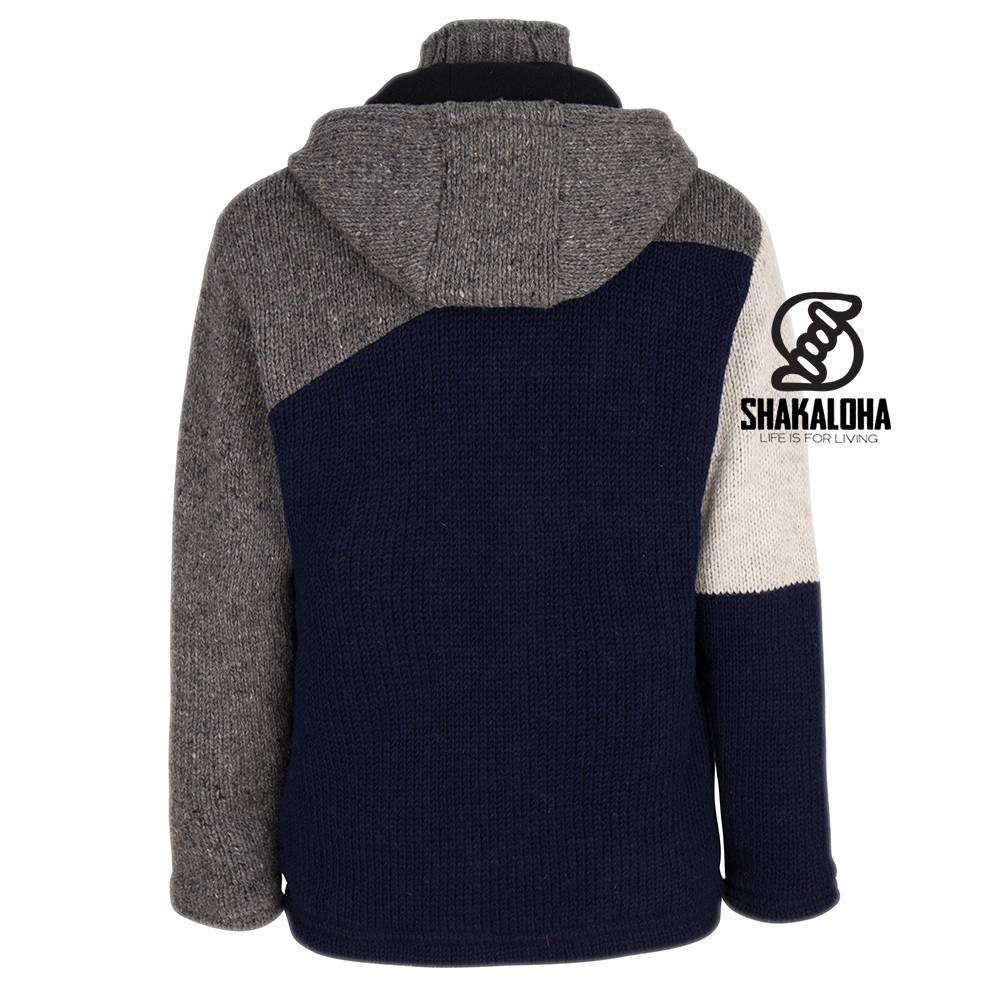 Shakaloha Shakaloha Wolljacke - Strickjacke Floyd ZH Grau Blau mit Fleece-Futter und Abnehmbarer Kapuze - Herren - Uni - Handgemacht in Nepal aus Schafwolle