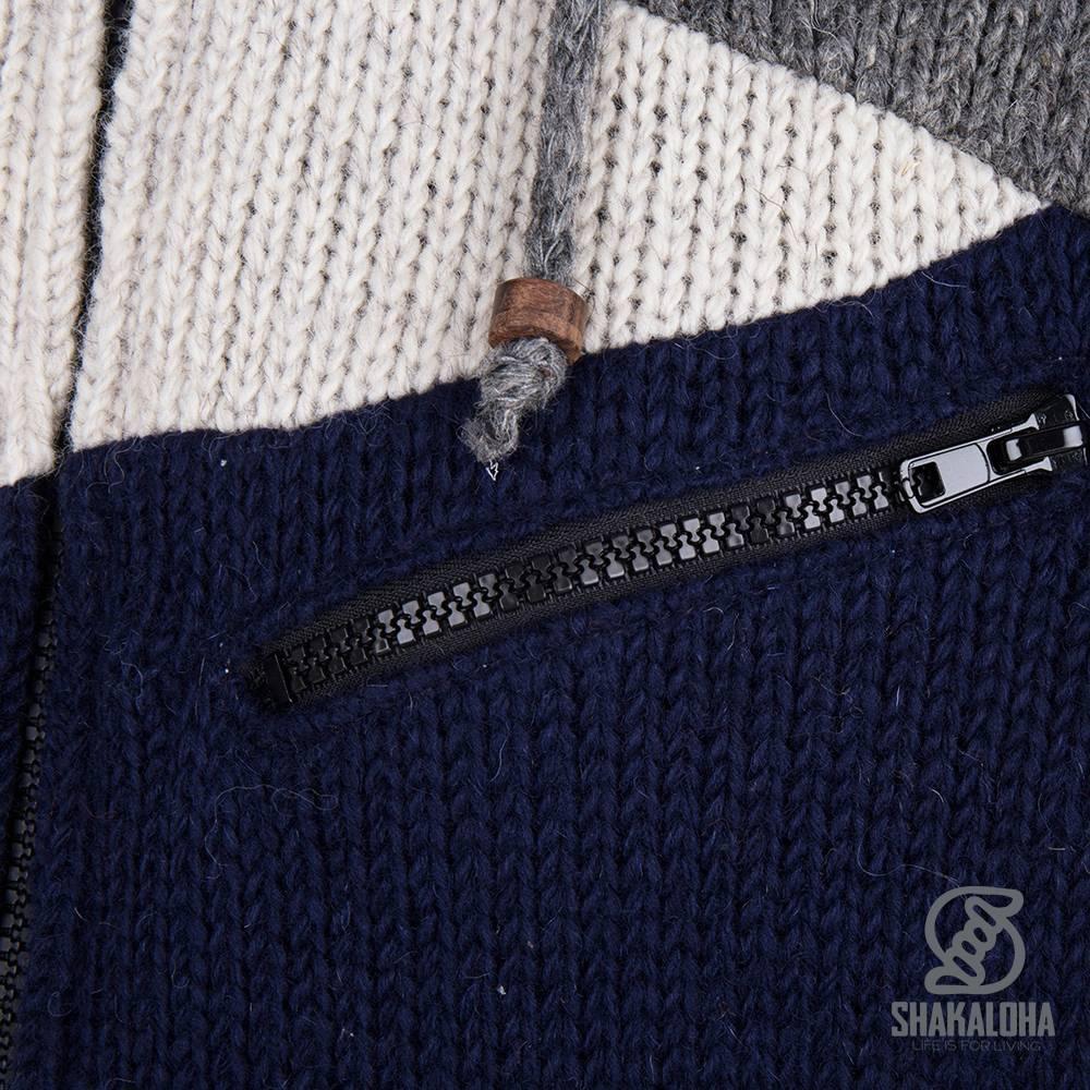 Shakaloha Shakaloha Veste en Laine Tricoté Floyd ZH Bleu gris avec Doublure en polaire et Capuche détachable - Hommes - Uni - Fabriqué à la main au Népal en laine de mouton
