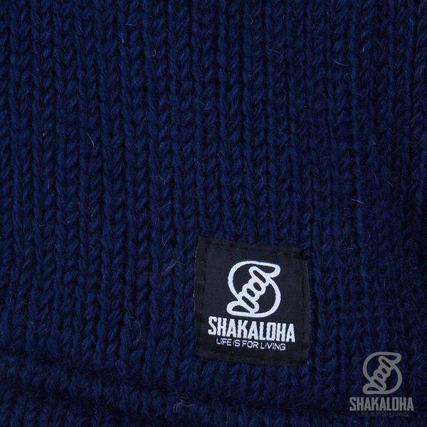Shakaloha Shakaloha Knitted Woolen Jacket Floyd ZH Grey blue with Fleece Lining and Detachable Hood - Men - Unisex - Handmade in Nepal from sheep's wool
