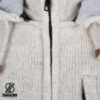 Shakaloha Shakaloha Veste en Laine Tricoté Splendor ZH Crème beige avec Doublure en coton et Capuche détachable - Hommes - Uni - Fabriqué à la main au Népal en laine de mouton