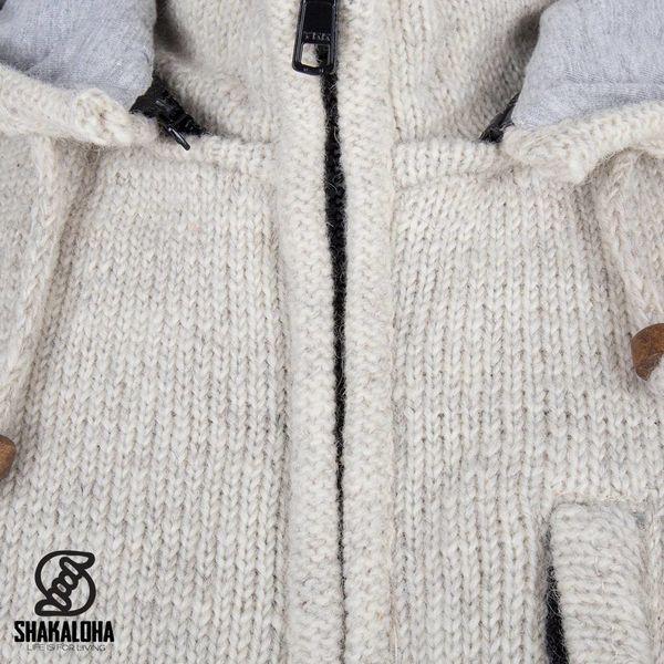 Shakaloha Shakaloha Gebreid Wollen Vest Splendor ZH Beige Crème met Katoenen Voering en Afneembare Capuchon - Man/Uni - Handgemaakt in Nepal van Schapenwol