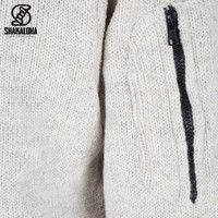 Shakaloha Shakaloha Wolljacke - Strickjacke Splendor ZH Beige Creme mit Baumwollfutter und Abnehmbarer Kapuze - Herren - Uni - Handgemacht in Nepal aus Schafwolle