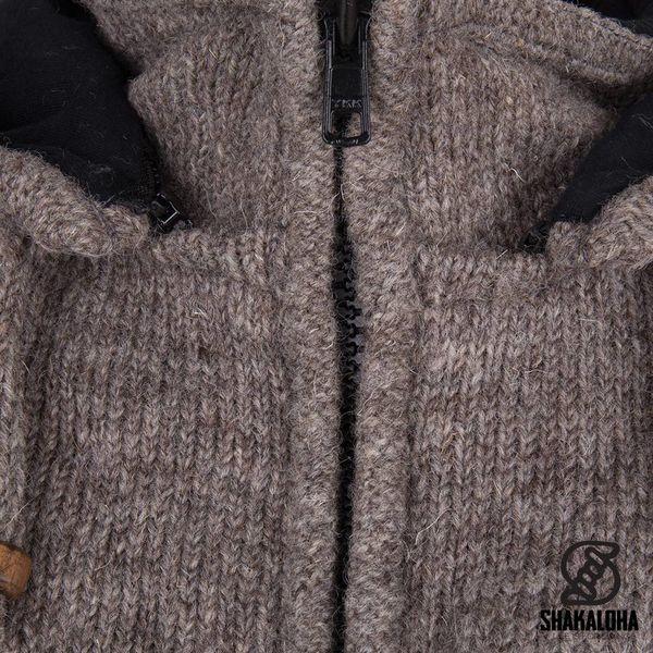 Shakaloha Shakaloha Veste en Laine Tricoté Splendor ZH Taupe marron clair avec Doublure en coton et Capuche détachable - Hommes - Uni - Fabriqué à la main au Népal en laine de mouton