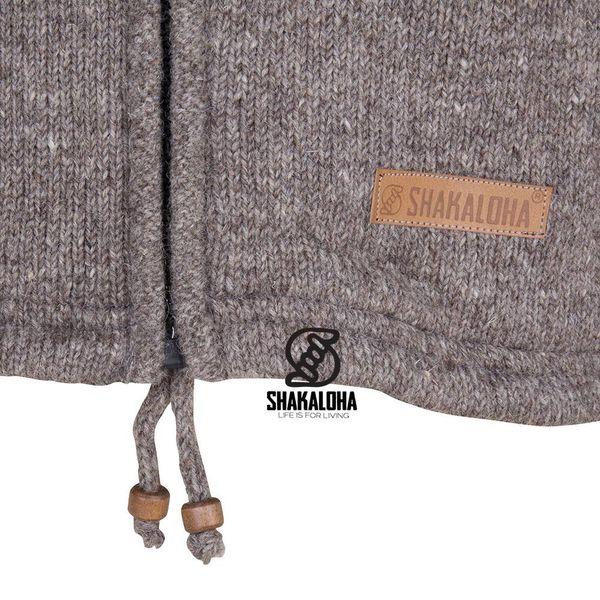 Shakaloha Shakaloha Wolljacke - Strickjacke Splendor ZH Hellbraune Taupe mit Baumwollfutter und Abnehmbarer Kapuze - Herren - Uni - Handgemacht in Nepal aus Schafwolle