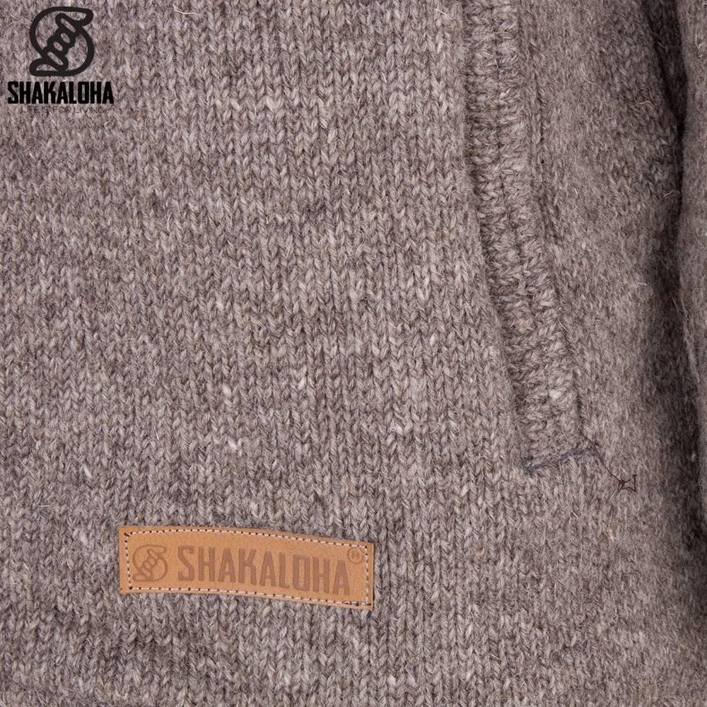Shakaloha Shakaloha Gebreid Wollen Vest Splendor ZH Licht Bruin Taupe met Katoenen Voering en Afneembare Capuchon - Man/Uni - Handgemaakt in Nepal van Schapenwol