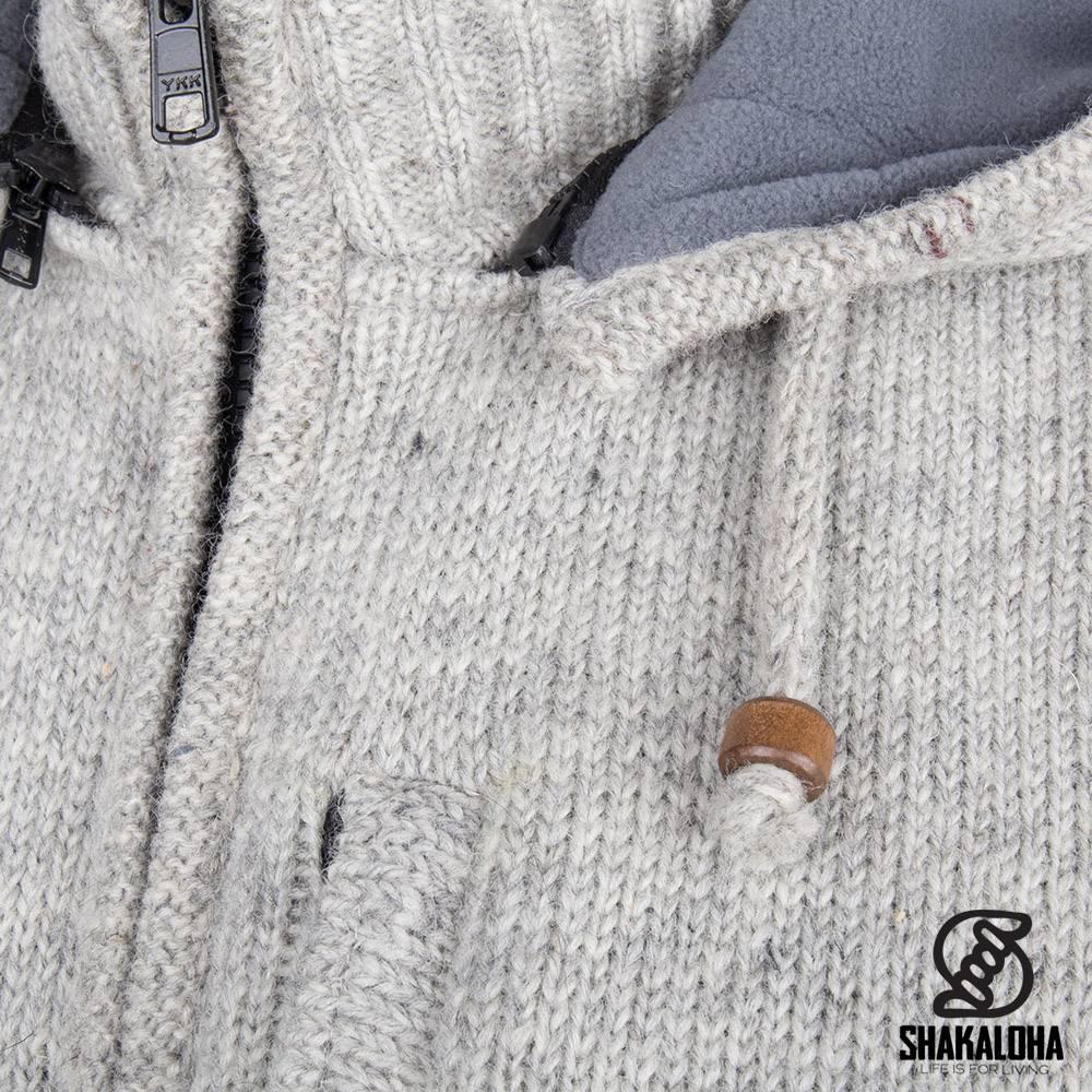Shakaloha Shakaloha Veste en Laine Tricoté Splendor ZH gris avec Doublure en polaire et Capuche détachable - Hommes - Uni - Fabriqué à la main au Népal en laine de mouton