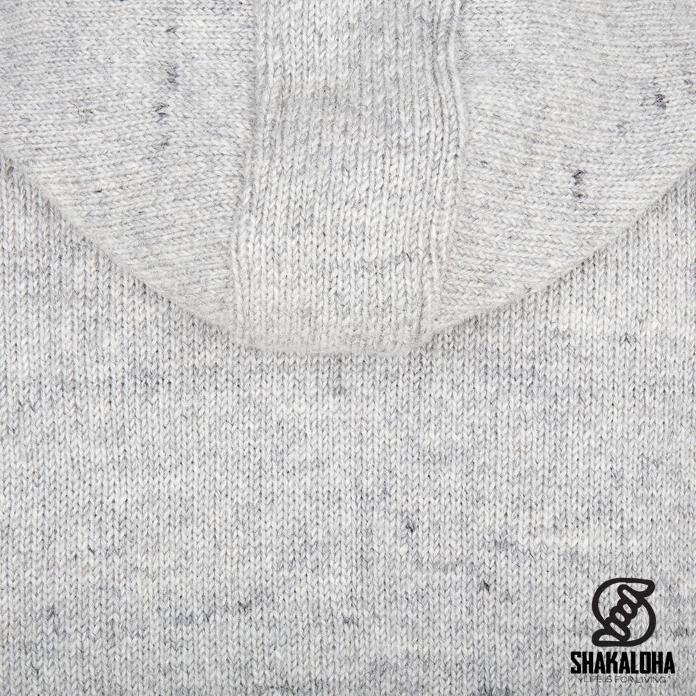 Shakaloha Shakaloha Gebreid Wollen Vest Splendor ZH Grijs met Fleece Voering en Afneembare Capuchon - Man/Uni - Handgemaakt in Nepal van Schapenwol