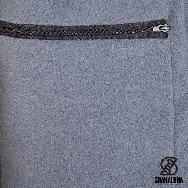 Shakaloha Shakaloha Wolljacke - Strickjacke Splendor ZH Grau mit Fleece-Futter und Abnehmbarer Kapuze - Herren - Uni - Handgemacht in Nepal aus Schafwolle