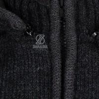 Shakaloha Shakaloha Knitted Woolen Jacket Splendor ZH Anthracite with Cotton Lining and Detachable Hood - Men - Unisex - Handmade in Nepal from sheep's wool