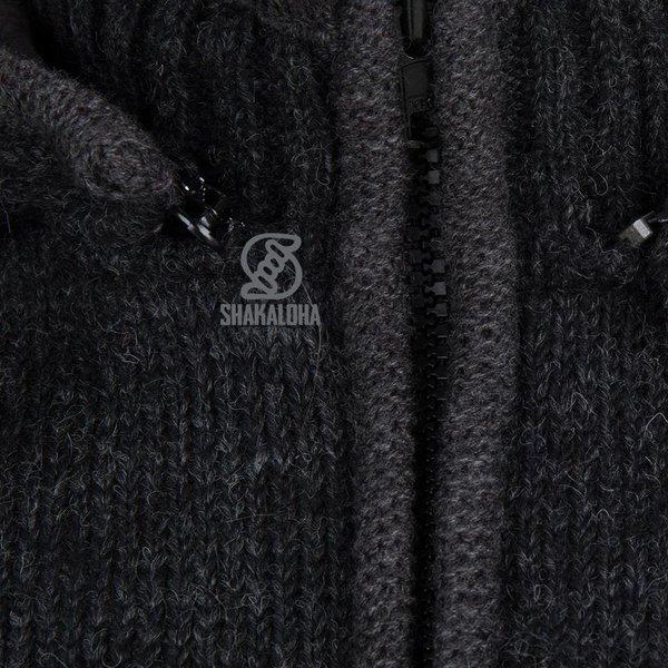 Shakaloha Shakaloha Gebreid Wollen Vest Splendor ZH Antraciet met Katoenen Voering en Afneembare Capuchon - Man/Uni - Handgemaakt in Nepal van Schapenwol