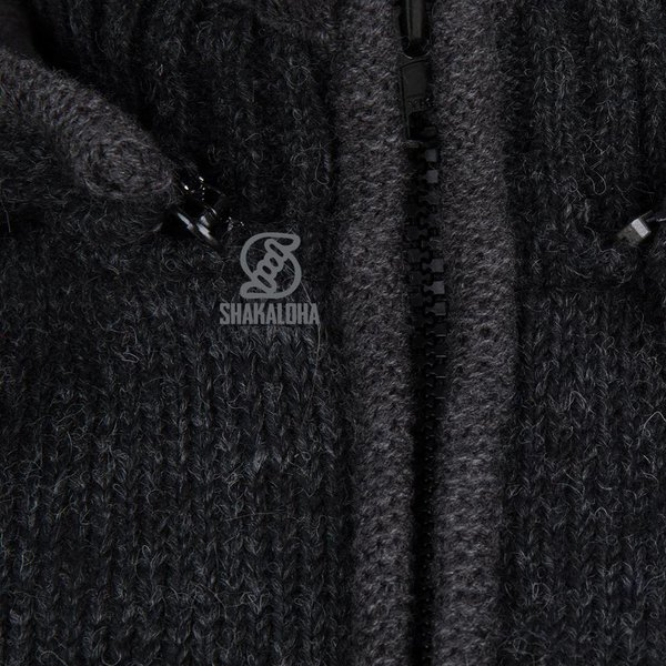 Shakaloha Shakaloha Wolljacke - Strickjacke Splendor ZH Anthrazit mit Baumwollfutter und Abnehmbarer Kapuze - Herren - Uni - Handgemacht in Nepal aus Schafwolle