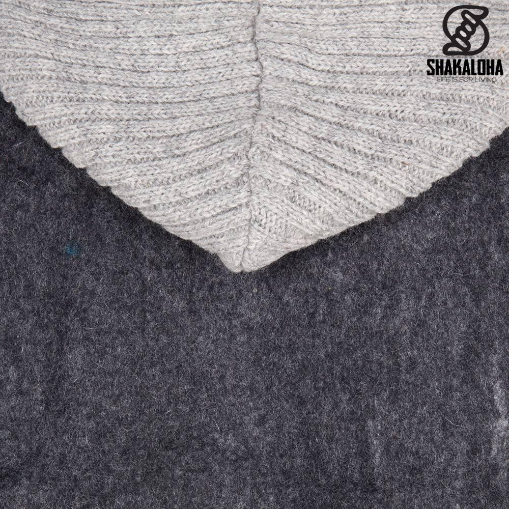 Shakaloha Shakaloha Veste en Laine Tricoté Baseball ZH Anthracite avec Doublure en coton et Capuche détachable - Hommes - Uni - Fabriqué à la main au Népal en laine de mouton