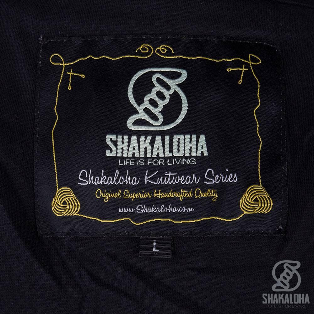 Shakaloha Shakaloha Wolljacke - Strickjacke Bohemian Navy blau mit Baumwollfutter und Kapuze - Herren - Uni - Handgemacht in Nepal aus Schafwolle