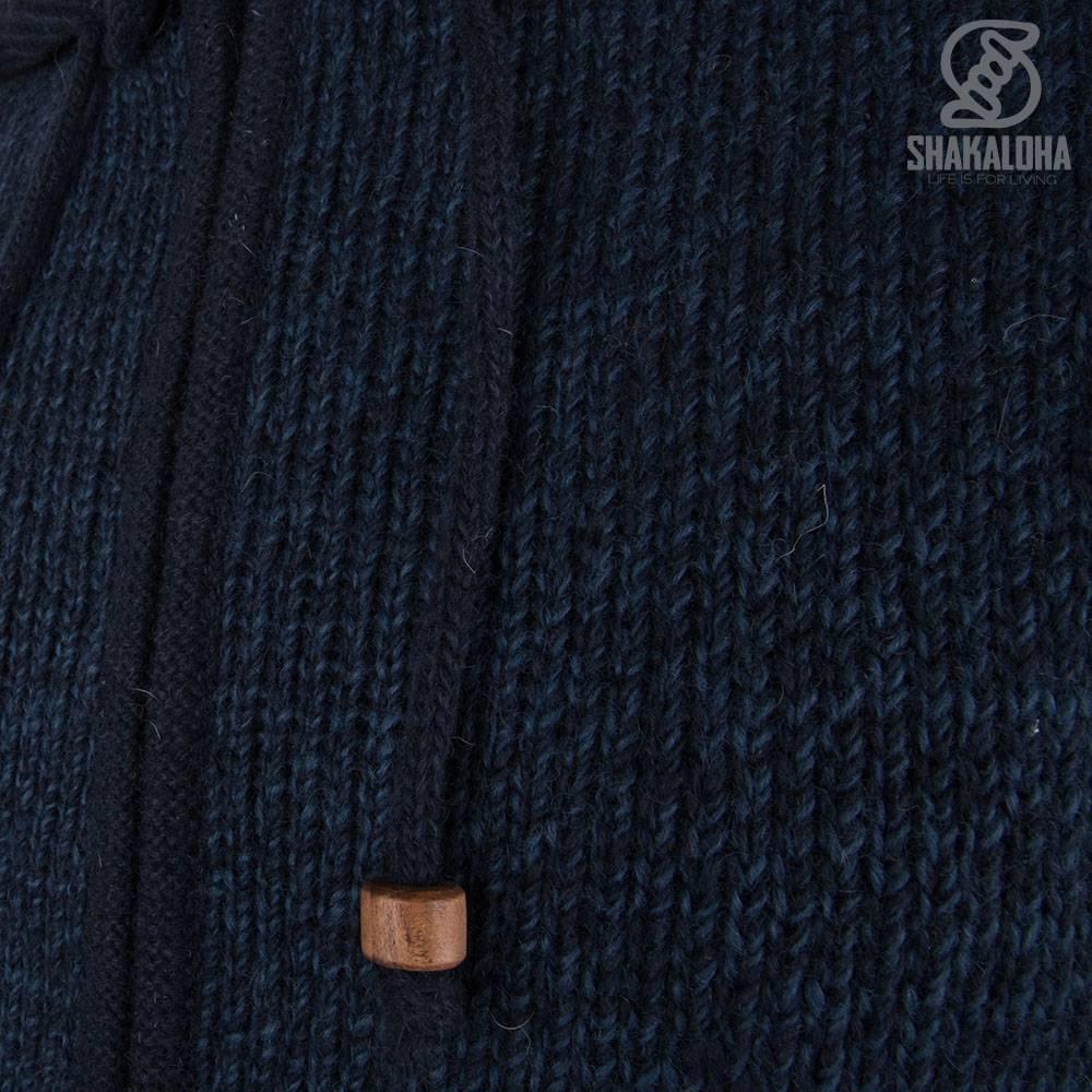 Shakaloha Shakaloha Veste en Laine Tricoté Bohemian Bleu marin avec Doublure en coton et Capuche - Hommes - Uni - Fabriqué à la main au Népal en laine de mouton
