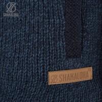 Shakaloha Shakaloha Knitted Woolen Jacket Bohemian Navy Blue with Cotton Lining and Hood - Men - Unisex - Handmade in Nepal from sheep's wool