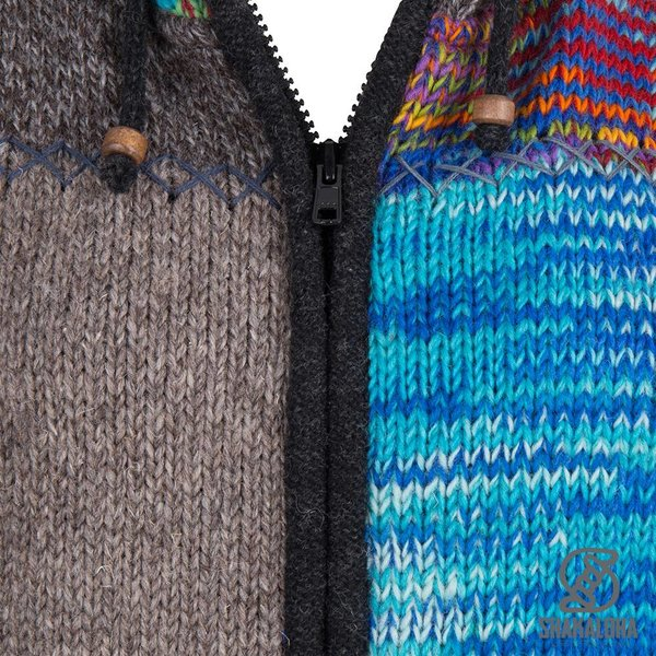 Shakaloha Shakaloha Knitted Woolen Jacket Longpatch Mixed Multicolor with Fleece Lining and Hood - Woman - Handmade in Nepal from sheep's wool