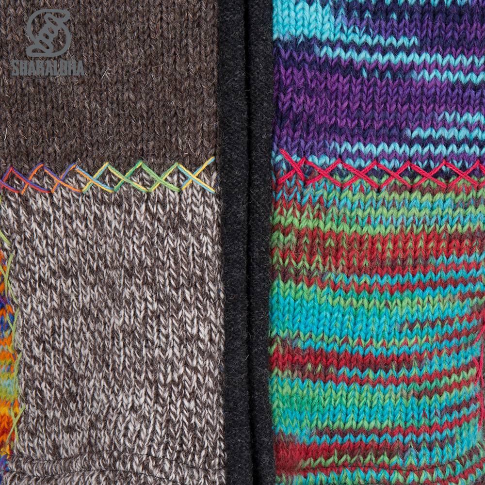 Shakaloha Shakaloha Knitted Woolen Jacket Longpatch Mixed Multicolor with Fleece Lining and Hood - Woman - Handmade in Nepal from sheep's wool