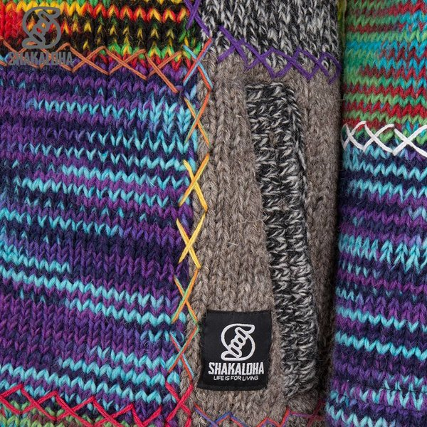 Shakaloha Shakaloha Gebreid Wollen Vest Longpatch Gemixte Meerkleurig Bont met Fleece Voering en Capuchon - Dames - Handgemaakt in Nepal van Schapenwol