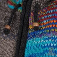 Shakaloha Shakaloha Wolljacke - Strickjacke Longpatch Gemischtes mehrfarbiges Fell mit Fleece-Futter und Kapuze - Damen - Handgemacht in Nepal aus Schafwolle