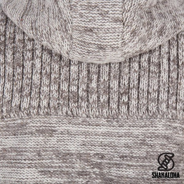 Shakaloha Shakaloha Wolljacke - Strickjacke Kauai Beige Hellbraun mit Windstopper aus Nylon und Kapuze - Herren - Uni - Handgemacht in Nepal aus Schafwolle