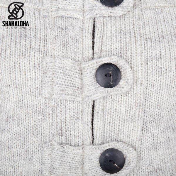 Shakaloha Shakaloha Wolljacke - Strickjacke Linder Beige Creme mit Baumwollfutter und Kapuze - Damen - Handgemacht in Nepal aus Schafwolle