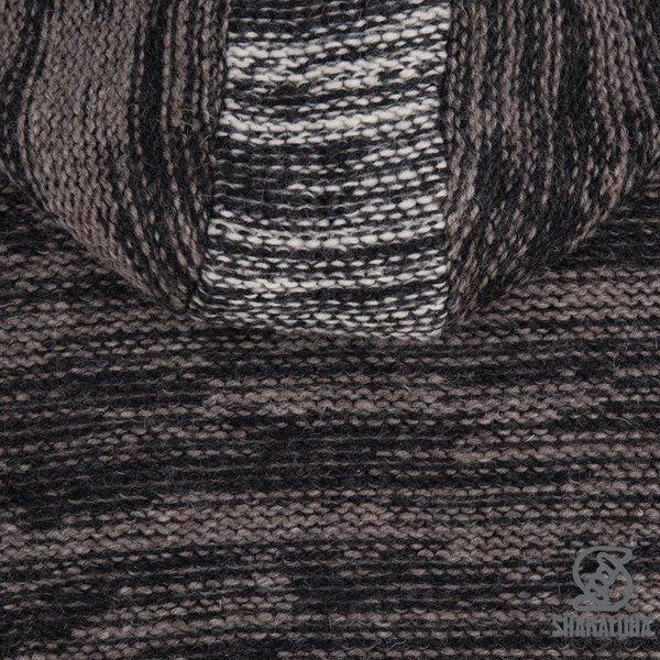 Shakaloha Shakaloha Veste en Laine Tricoté Talbot ZH Brun clair anthracite avec Doublure en polaire et Capuche détachable - Hommes - Uni - Fabriqué à la main au Népal en laine de mouton