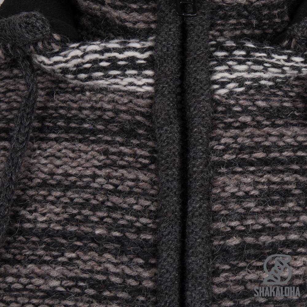 Shakaloha Shakaloha Gebreid Wollen Vest Talbot ZH Antraciet Licht Bruin met Fleece Voering en Afneembare Capuchon - Man/Uni - Handgemaakt in Nepal van Schapenwol