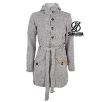 Shakaloha Shakaloha Knitted Woolen Jacket Linder  with Cotton Lining and Hood - Woman - Handmade in Nepal from sheep's wool