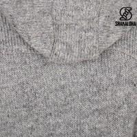 Shakaloha Shakaloha Wolljacke - Strickjacke Linder Grau mit Baumwollfutter und Kapuze - Damen - Handgemacht in Nepal aus Schafwolle